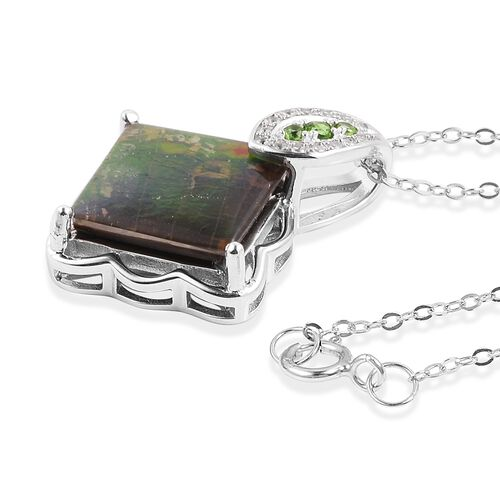 AA Canadian Ammolite (Sqr 12mm),Russian Diopside and Natural White Cambodian Zircon Pendant With Chain in Rhodium Overlay Sterling Silver