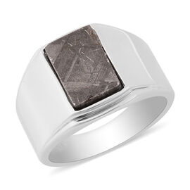 Meteorite Ring in Rhodium Overlay Sterling Silver 7.00 Ct, Silver Wt. 8.00 Gms