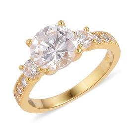 ELANZA Simulated White Diamond Ring in 14K Yellow Gold Overlay Sterling Silver