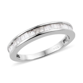 Diamond (Bgt) Half Eternity Band Ring in Platinum Overlay Sterling Silver 0.530 Ct.