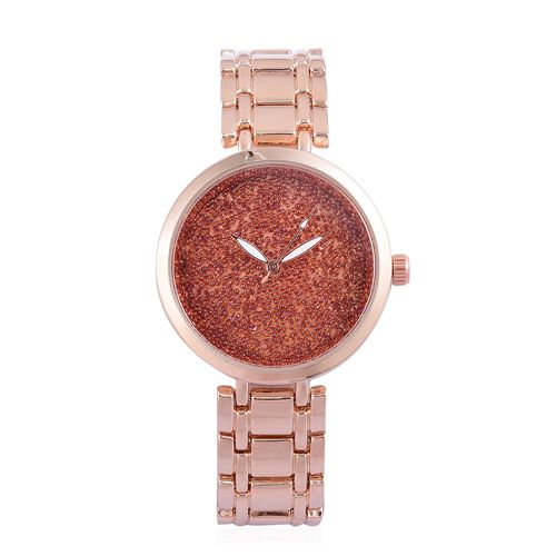 GENOA Red Swarovski Crystal Watch in Rose Gold Tone