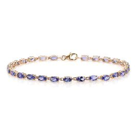 9K Yellow Gold  Tanzanite (Ovl) Tennis Bracelet (Size 8) 6.50 Ct.