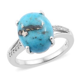 5 Carat Persian Turquoise and Natural Cambodian Zircon Solitaire Ring in Sterling Silver
