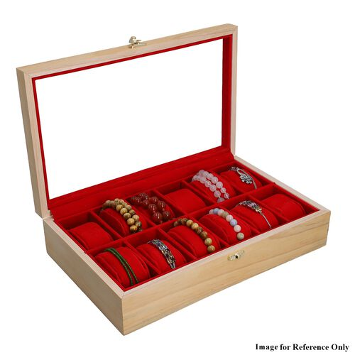Handcrafted Pine Wood Watch Box (12 Watches Storage) (Pine Color) (34.5 Cm x 21.4 Cm x 8.2 Cm)