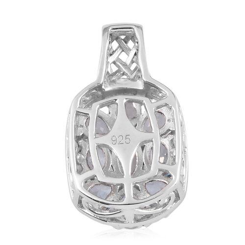 Santa Teresa Aquamarine Cluster Pendant in Platinum Overlay Sterling Silver 1.20 Ct.