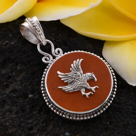 Royal Bali Collection - Orange Jade Garuda Pendant in Sterling Silver 5.00 Ct.