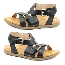 Heavenly Feet Apollo Flat Sandal (Size 3) - Black