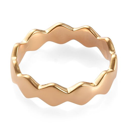 14K Gold Overlay Sterling Silver Wavy Band Ring