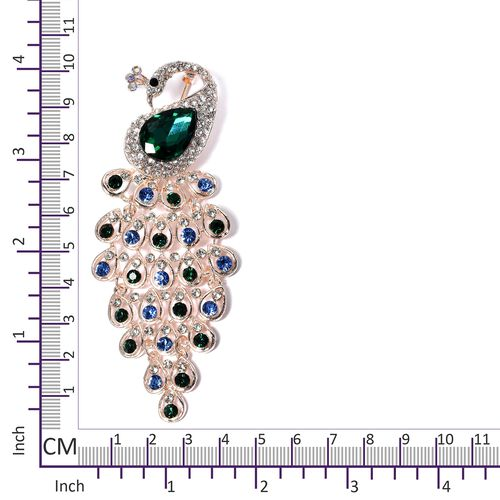 Designer inspired- Multi Colour Austrian Crystal and Simulated Emerald Peacock Brooch in Rose Gold Plated