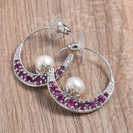 GP - Freshwater Pearl (Rnd), Rhodolite Garnet, Blue Sapphire and Natural White Cambodian Zircon Earrings (with Push Back) in Platinum Overlay Sterling Silver, Silver wt 5.80 Gms