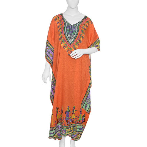 Orange, Purple, Yellow and Multi Colour Flower with Egypt Pattern Full Length Apparel (Size 125x70 C