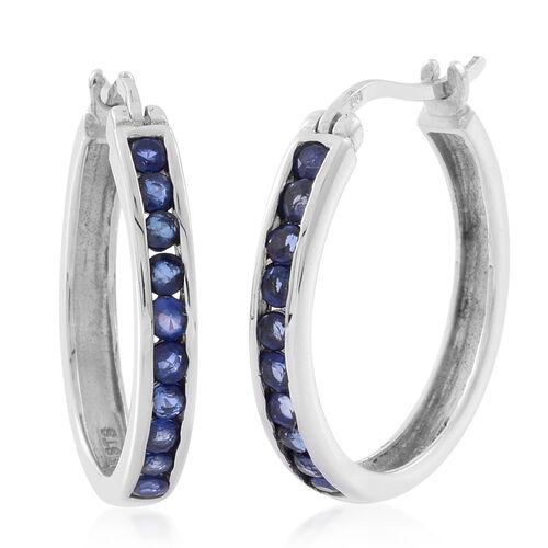 Kanchanaburi Blue Sapphire (Rnd) Hoop Earrings in Rhodium Plated Sterling Silver 1.000 Ct.