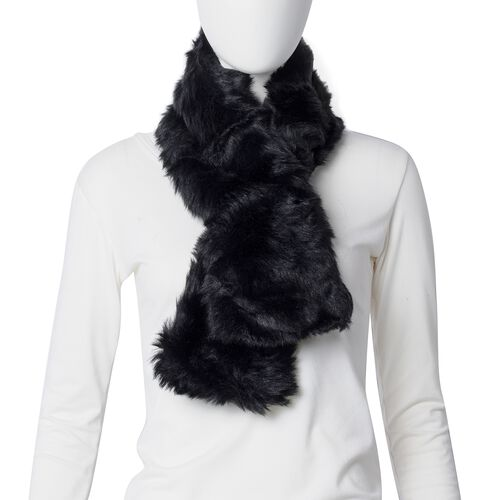 STRADA Japanese Movement Watch with Black Colour Strap and Black Colour Faux Fur Scarf (Size 100x15 Cm)