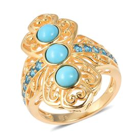 AA Arizona Sleeping Beauty Turquoise (Rnd), Malgache Neon Apatite Ring in Yellow Gold Overlay Sterli