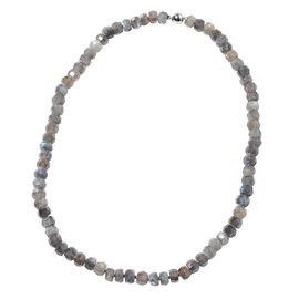 AAA Labradorite Necklace (Size 20) with Magnetic Lock in Rhodium Overlay Sterling Silver   226.00 Ct