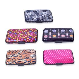 Set of 5 Multi Colour Floral, Tiger, Owl and Polka Dot Pattern RFID Blocking Aluminium Card Holder and a box.