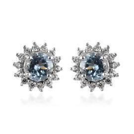 9K White Gold Espirito Santo Aquamarine (Rnd), Natural Cambodian Zircon Stud Earrings 1.35 Ct.