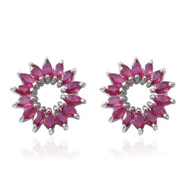 African Ruby (Mrq) Earrings in Rhodium Overlay Sterling Silver 2.800 Ct.