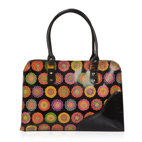 100% Genuine Leather Multi Colour Hand Printed Circles Pattern Shoulder Bag With RFID Blocker (Size