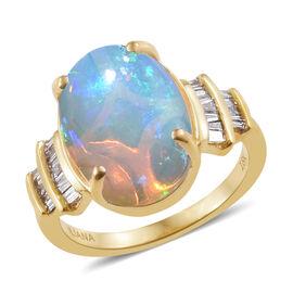 ILIANA 18K Yellow Gold Ethiopian Welo Opal (Ovl 4.00 Ct), Diamond  Ring 4.150 Ct.