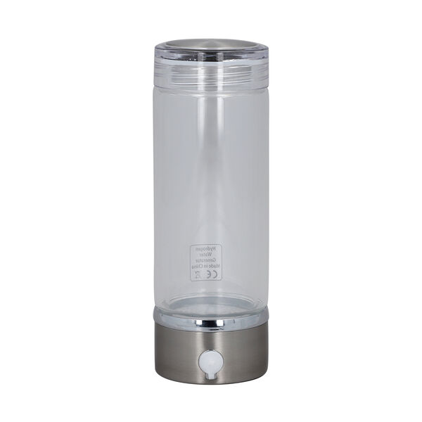 380ml Portable Hydrogen Water Generator Bottle with SPE and PEM Technology (Size 7x21 Cm) - Silver