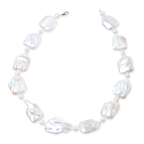 9K Yellow Gold AAA Keshi Pearl and AA Fresh Water White Pearl Necklace (Size 18)