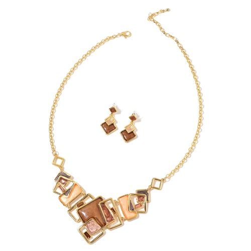 Simulated Multi Colour Diamond Necklace (Size 20) and Earrings in Yellow Gold Tone