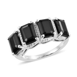 5.5 Ct Black Spinel 5 Stone Ring in Sterling Silver
