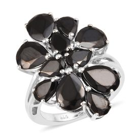 5 Carat Shungite Floral Cluster Ring in Platinum Plated Silver