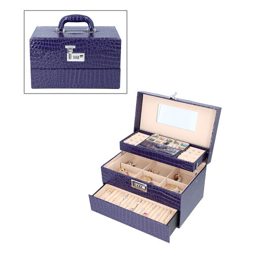 Three Layer Crocodile Skin Pattern Jewellery Box with Inside Mirror and Coded Lock (Size 33x21x19cm)