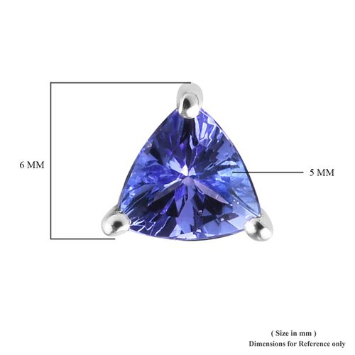 9K White Gold AA Tanzanite (Trl) Stud Earrings (With Push Back) 1.000 Ct.