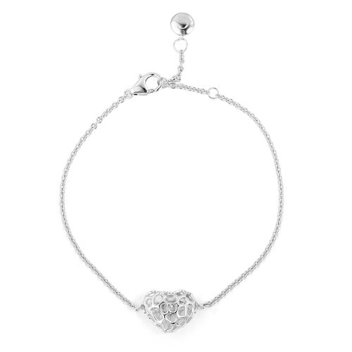 RACHEL GALLEY Rhodium Plated Sterling Silver Lattice Heart Bracelet (Size 7 - 8 Inches), Silver wt 3.99 Gms.