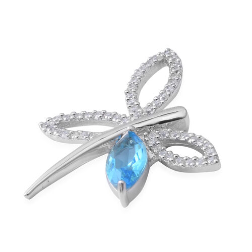 ELANZA Simulated Blue Topaz (Mrq), Simulated Diamond Dragonfly Pendant in Rhodium Overlay Sterling Silver