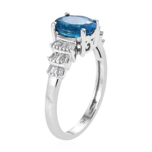 9K White Gold AAA Malgache Neon Apatite (Ovl), Diamond Ring 1.400 Ct.
