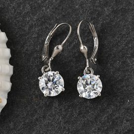 J Francis Platinum Overlay Sterling Silver Earrings (with Lever Back) Made with SWAROVSKI ZIRCONIA 2.25 Ct