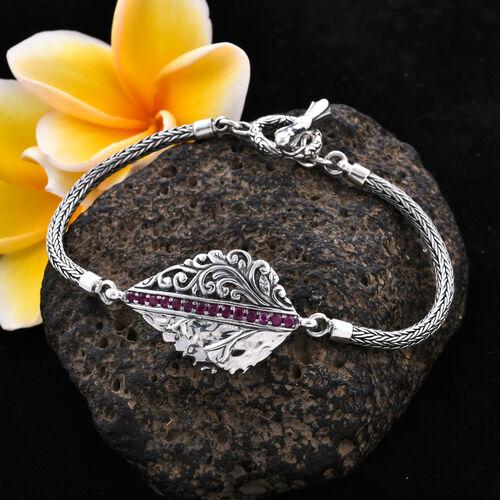 Bali Legacy 0.80 Ct African Ruby Tulang Naga Leaf Bracelet in Sterling Silver 13.90 Grams 7.5 Inch