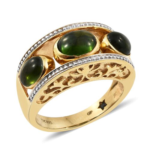GP Russian Diopside (Ovl), Ethiopian Welo Opal and Kanchanaburi Blue Sapphire Interchangeable Ring in 14K Gold Overlay Sterling Silver 5.500 Ct. Silver wt 6.02 Gms.
