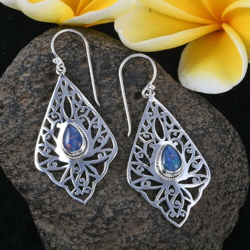 Royal Bali Collection Australian Boulder Opal (Pear) Filigree Hook Earrings in Sterling Silver, Silver wt 5.86 Gms.