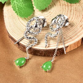 Rachel Galley Venom (Snakes) Collection - Green Jade Earrings (with Push Back) in Rhodium Overlay Sterling Silver 2.95 Ct.