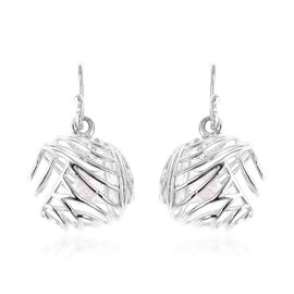 Isabella Liu - Sea Rhyme Collection - White Mother of Pearl (Rnd) Hook Earrings in Rhodium Overlay S