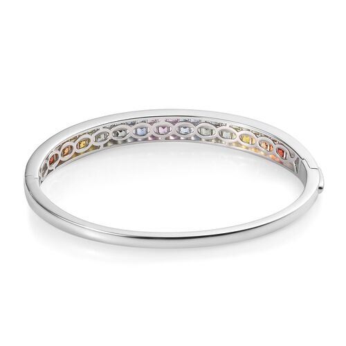 AAA Rainbow Sapphire (Princess) Bangle (Size 7.5) in Platinum Overlay Sterling Silver 6.00 Ct.