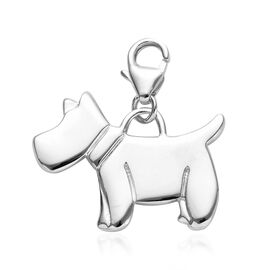 Platinum Overlay Sterling Silver Scottish Terrier Dog Charm, Silver wt 3.37 Gms