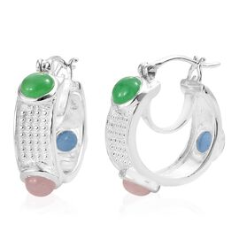 Blue, Green and Pink Jade (Rnd) Hoop Earrings (with Clasp Lock) in Sterling Silver 4.000 Ct. Silver wt 6.68 Gms.