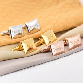 Personalised Engraving Men Envelope Shaped  Cufflinks in Silver
