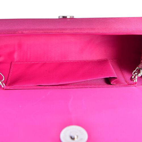 Fuchsia Satin Bow Clutch with Removable Chain Strap (Size 30x10 Cm)