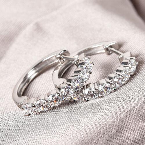 J Francis Platinum Overlay Sterling Silver Hoop Earrings Made with SWAROVSKI ZIRCONIA 5.25 Ct.