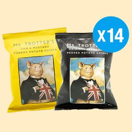 Mr Trotters Gentlemans Provisions Crisps 14 x 40g (7 x Original Scratching, 7 x Ham & Mustard)
