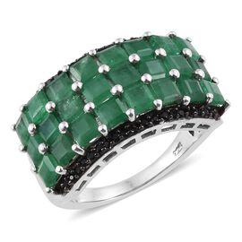 4.5 Ct Zambian Emerald and Boi Ploi Black Spinel Ring in Platinum Plated Sterling Silver 6 Grams