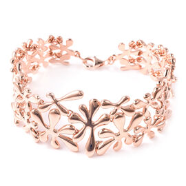 LucyQ Splash Bracelet (Size 7.5) in Rose Gold Overlay Sterling Silver, Silver wt 42.19 Gms