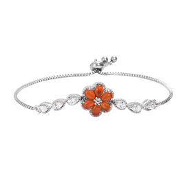 Red Onyx and White Topaz Adjustable Floral Bracelet in Silver Tone 5.25 Ct